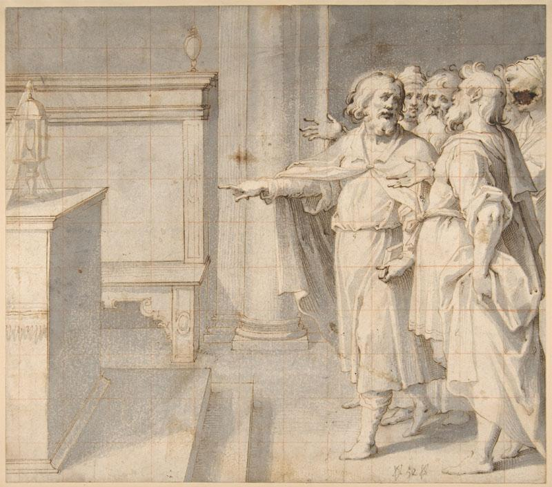Giovanni Battista Trotti--A Male Saint Followed by a Group of Men