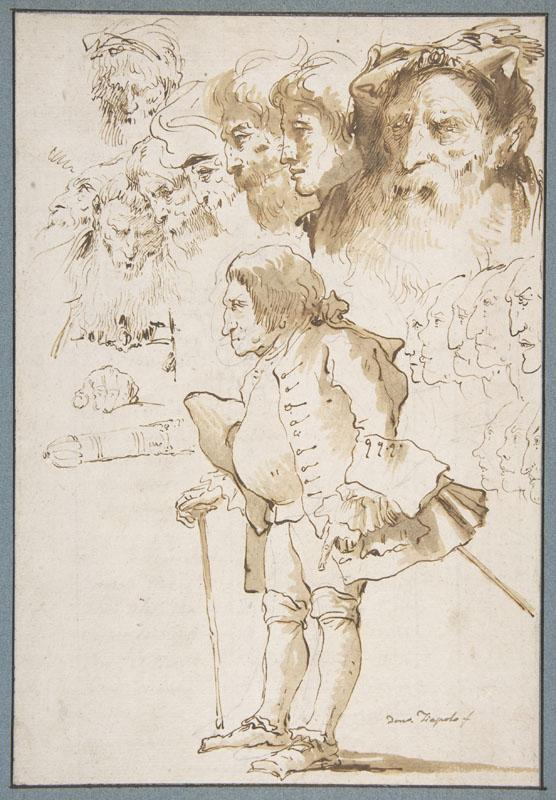 Giovanni Domenico Tiepolo--Caricature of a Gentleman and Other Studies