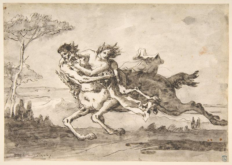 Giovanni Domenico Tiepolo--Centaur Abducting a Satyress