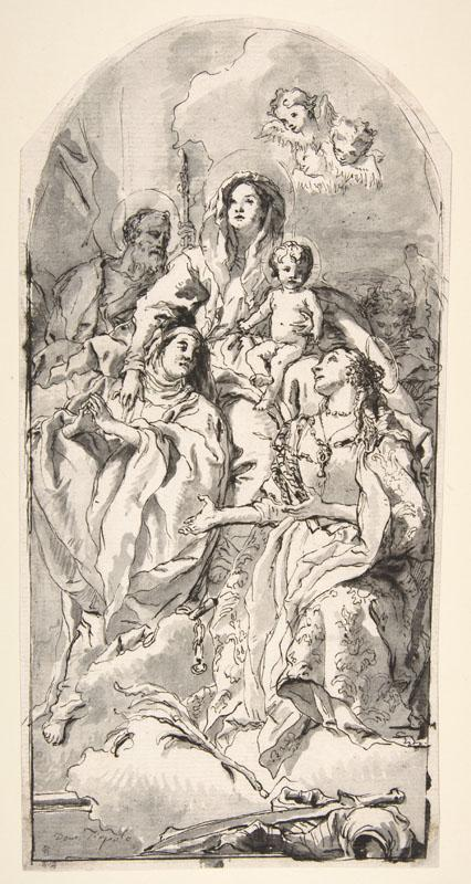 Giovanni Domenico Tiepolo--The Holy Family with Two Female Saints