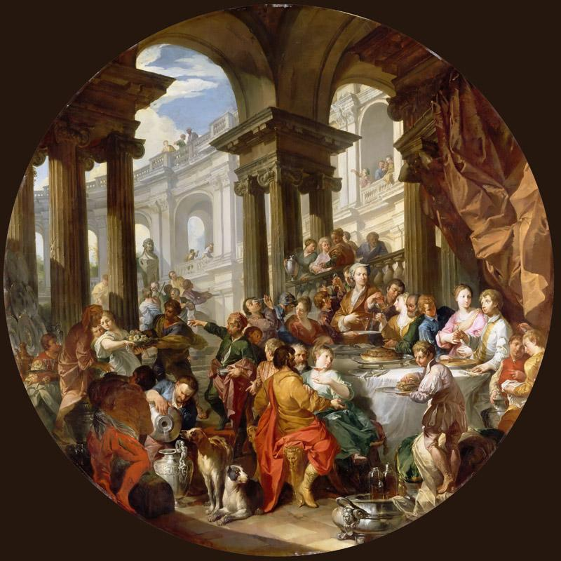 Giovanni Paolo Panini -- Feast held under a portico of the Ionic order