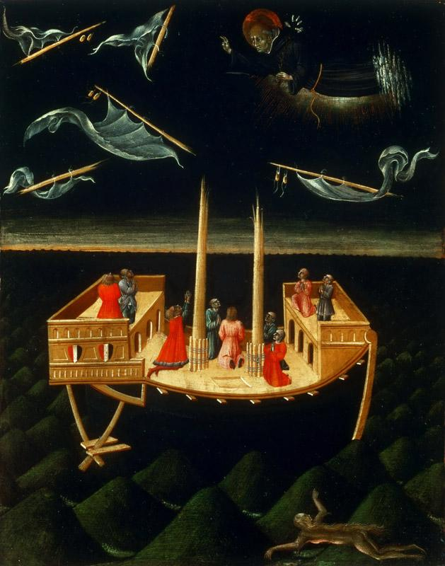 Giovanni di Paolo (Giovanni di Paolo di Grazia), Italian (active Siena), first securely documented 1411, died 1482 -- Saint Nicholas of Tolentino Saving a Ship
