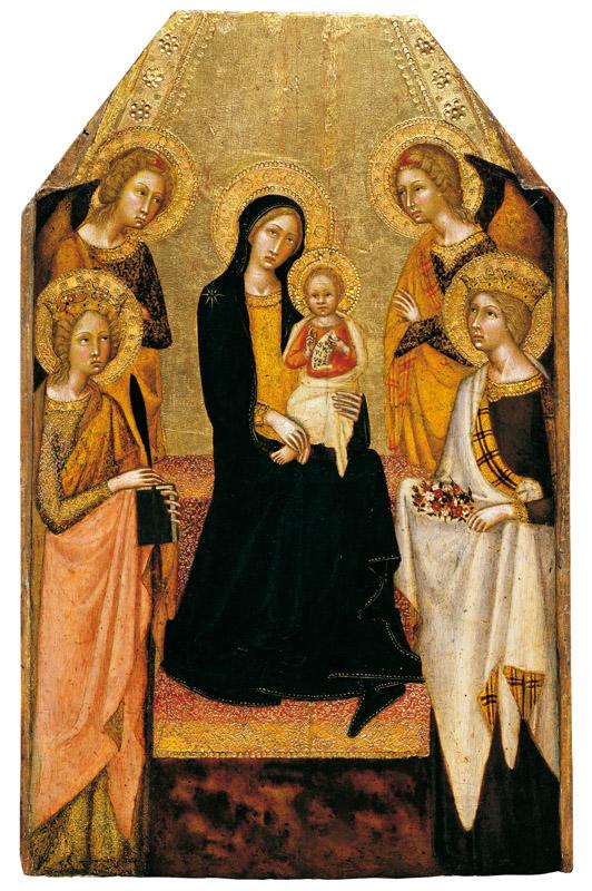 Giovanni di Paolo - The Virgin and Child between SS Catherine of Alexandria and Dorothy () with T