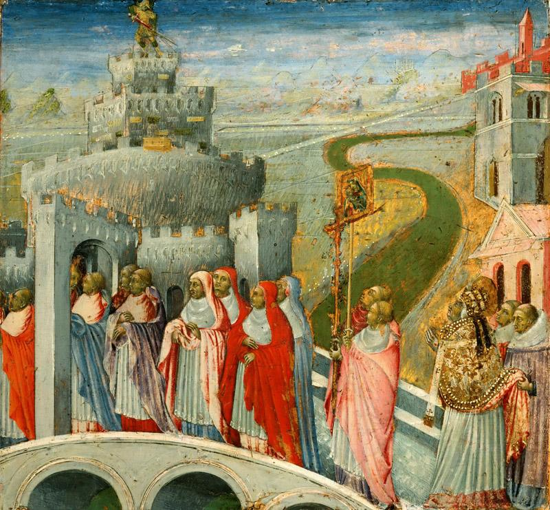 Giovanni di Paolo -- Procession of Saint Gregory at the Castel Sant Angelo