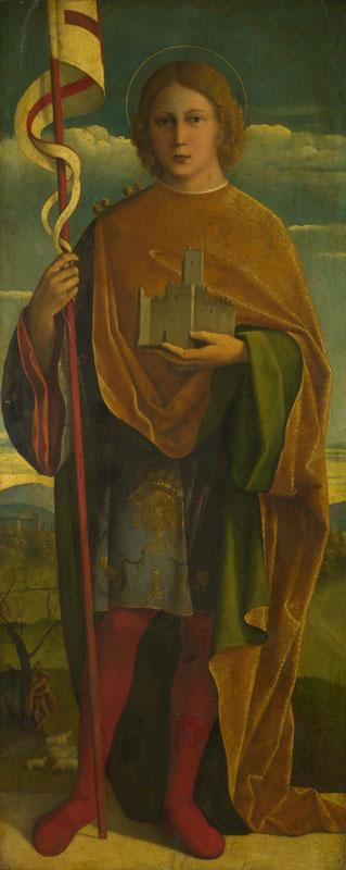 Girolamo da Santacroce - A Saint with a Fortress and a Banner