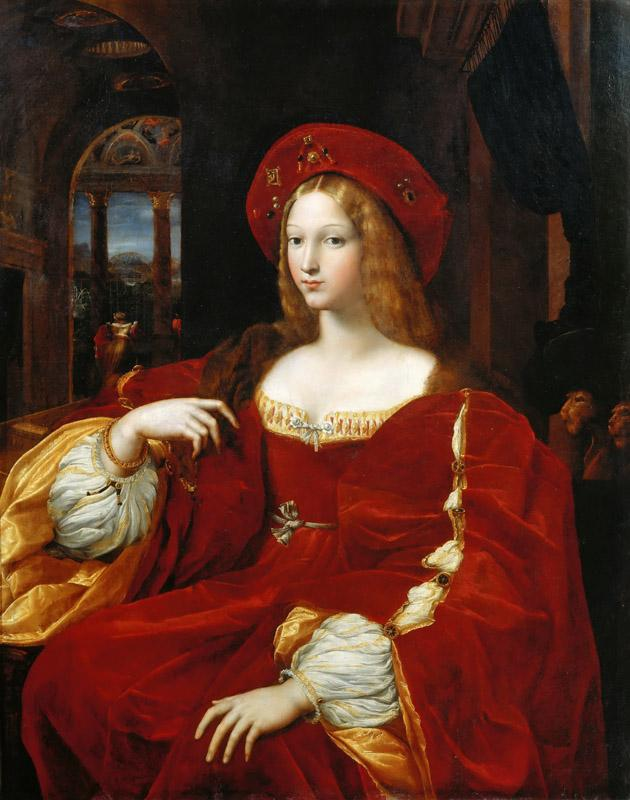 Giulio Romano -face attributed to Raphael -- Portrait of Joan of Aragon, Vice-Queen of Naples