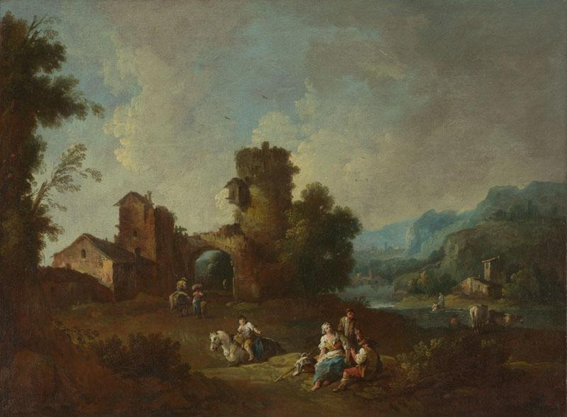 Giuseppe Zais - Landscape with a Ruined Tower
