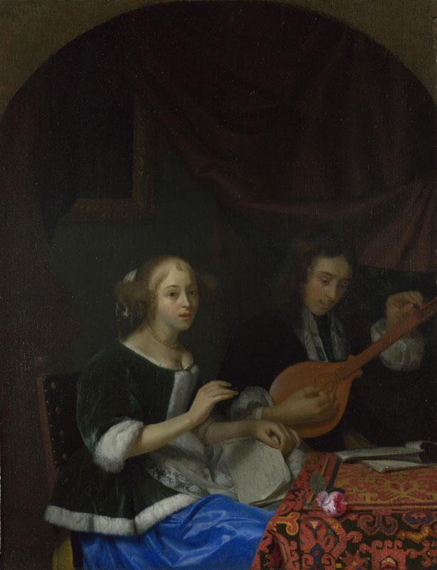 Godfried Schalcken - A Woman singing and a Man with a Cittern