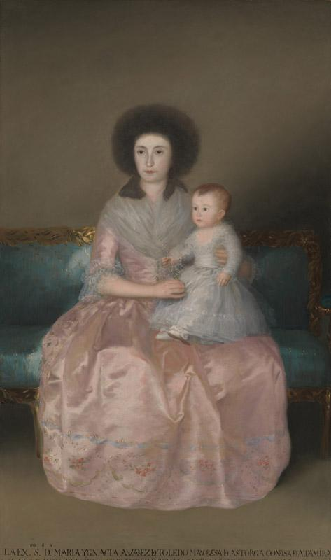Goya--Condesa de Altamira and Her Daughter, Maria Agustina