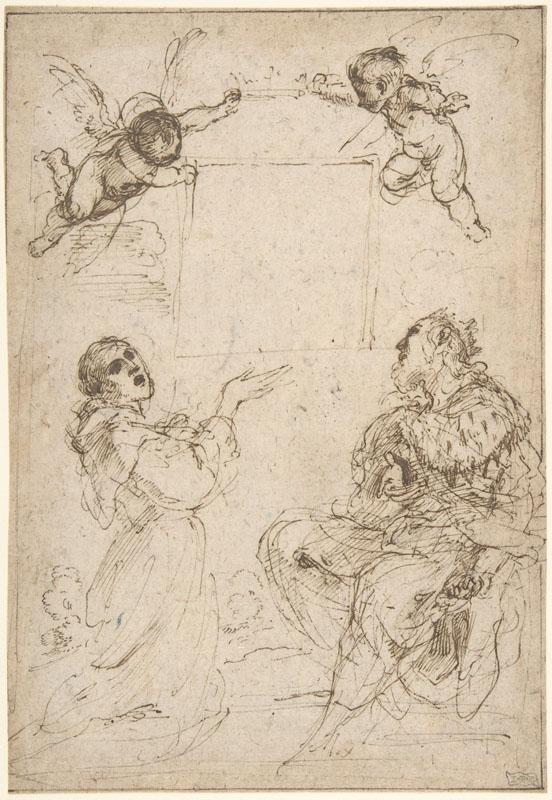 Guercino--Saint Francis of Assisi and Saint Louis