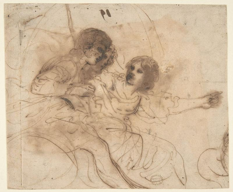 Guercino--Youth in a Chariot with Attendant Young Woman