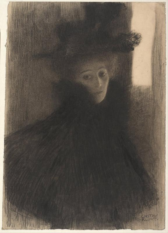 Gustav Klimt (1862-1918)-Portrait of a Lady with Cape and Hat, 1