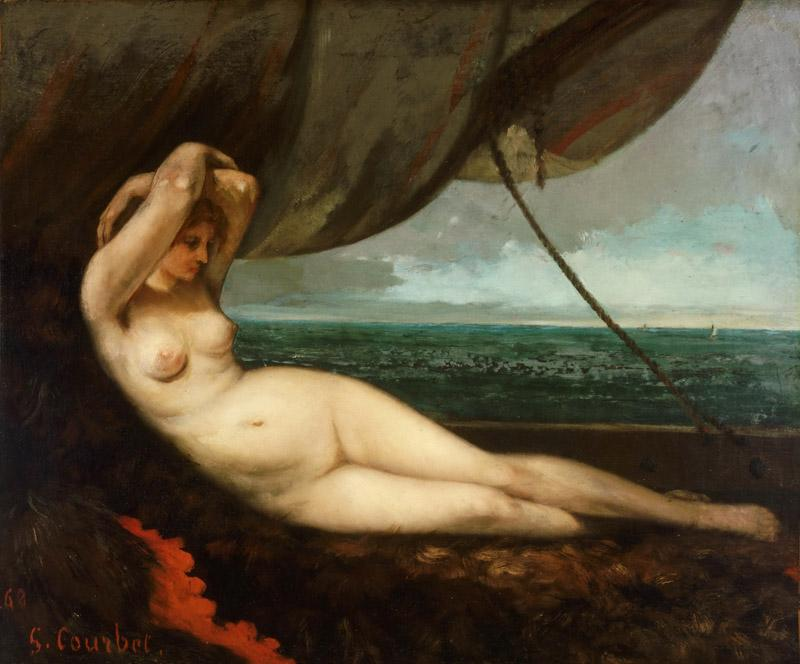 Gustave Courbet, French, 1819-1877 -- Nude Reclining by the Sea