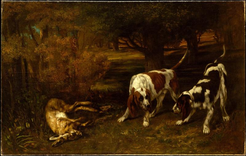 Gustave Courbet--Hunting Dogs with Dead Hare
