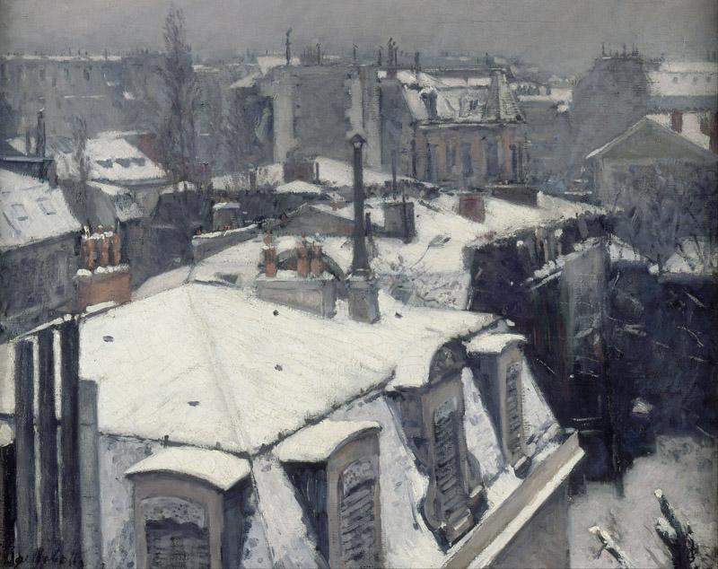 Gustave Caillebotte - Rooftops in the Snow (snow effect)