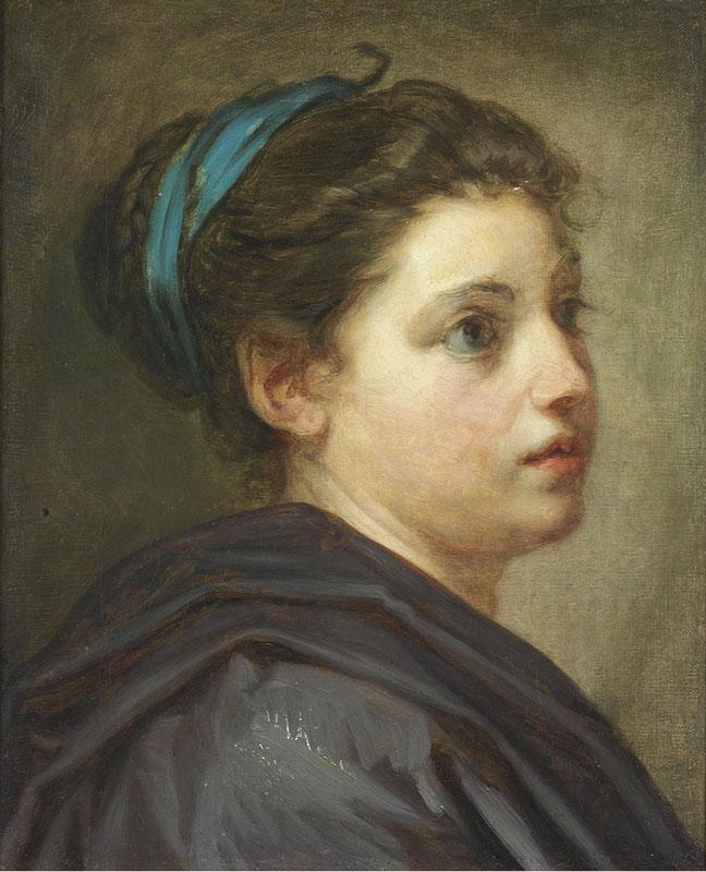 HEAD STUDY OF A YOUNG LADY WITH A BLUE RIBBON