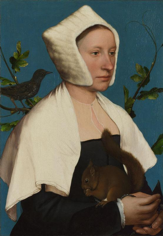 Hans Holbein the Younger - A Lady with a Squirrel and a Starling (Anne Lovell)
