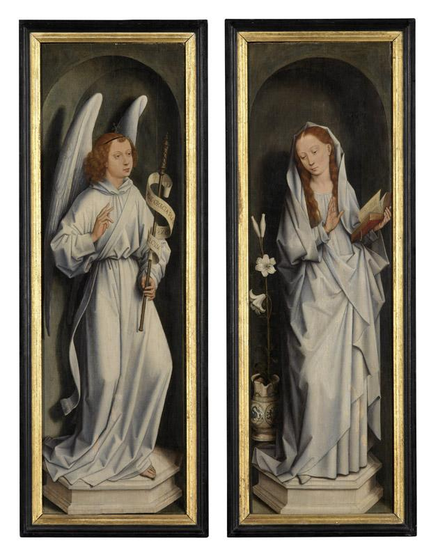Hans Memling - Reverse of a pair of wings showing the Annunciation