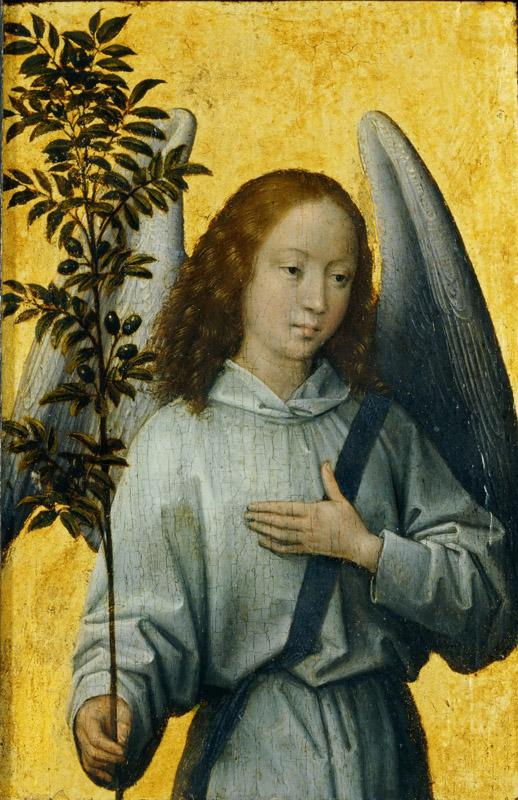Hans Memling -- Angel Carrying and Olive Branch, Symbol of Divine Peace