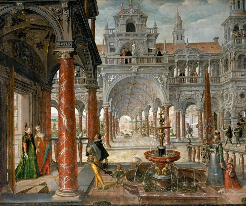 Hans Vredeman de Vries -- Palace with Distinguished Visitors