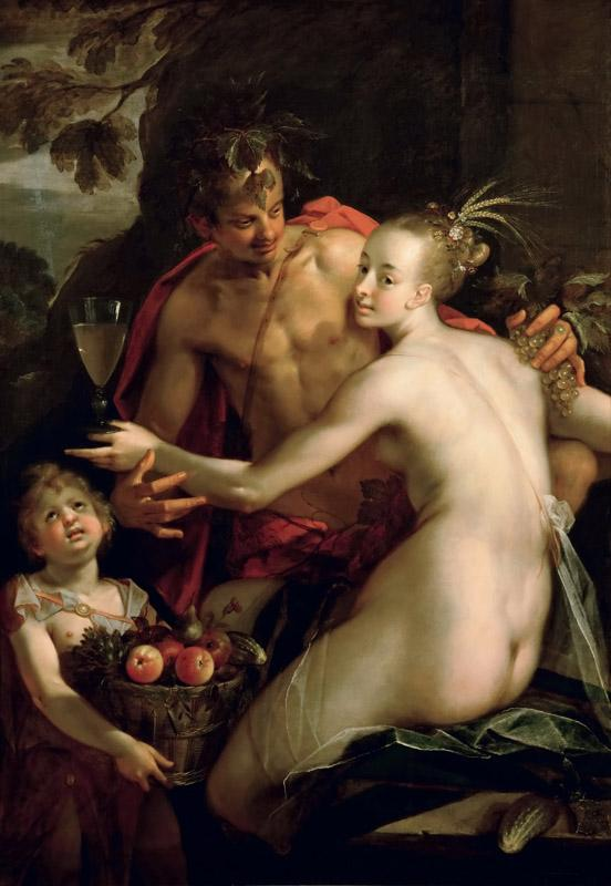 Hans von Aachen (1552-1615) - Bachus, Ceres and Cupid