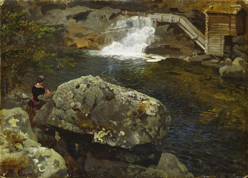 Hans Gude - By the Mill Pond