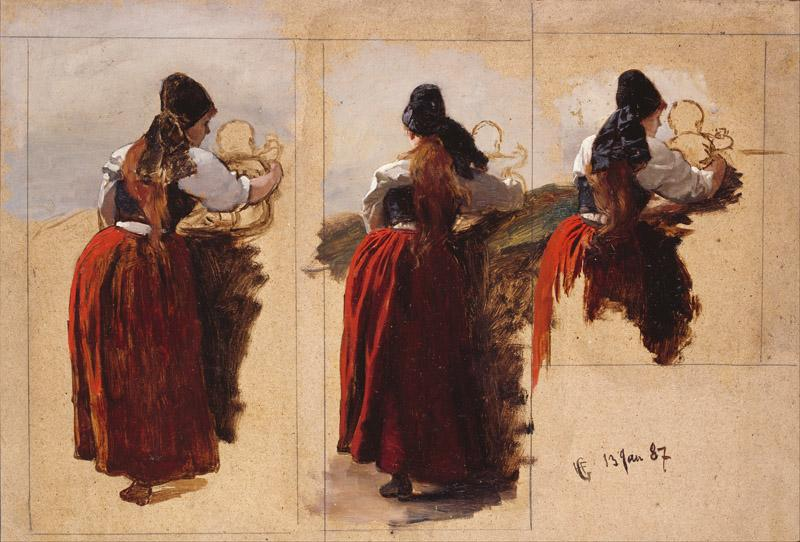 Hans Gude - Studies of a Woman from Rugen