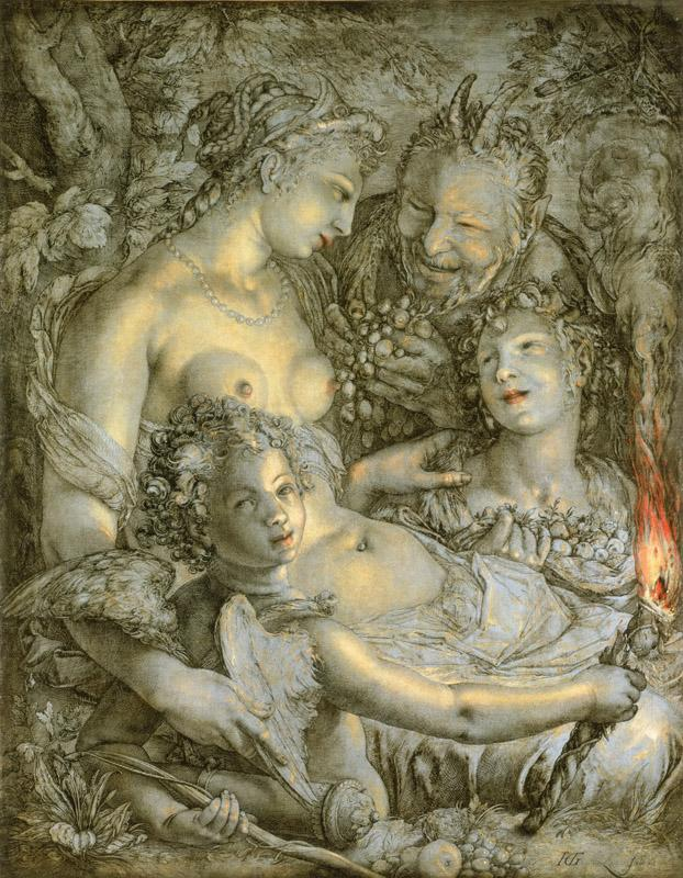 Hendrick Goltzius, Dutch (active Haarlem), 1558-1617 -- Sine Cerere et Libero friget Venus (Without Ceres and Bacchus, Venus Would Freeze)