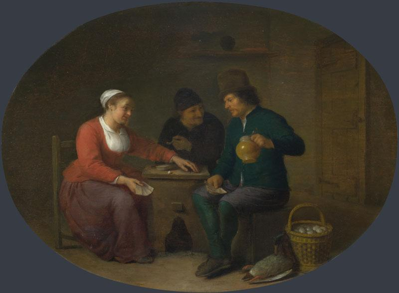 Hendrick Sorgh - A Woman playing Cards with Two Peasants