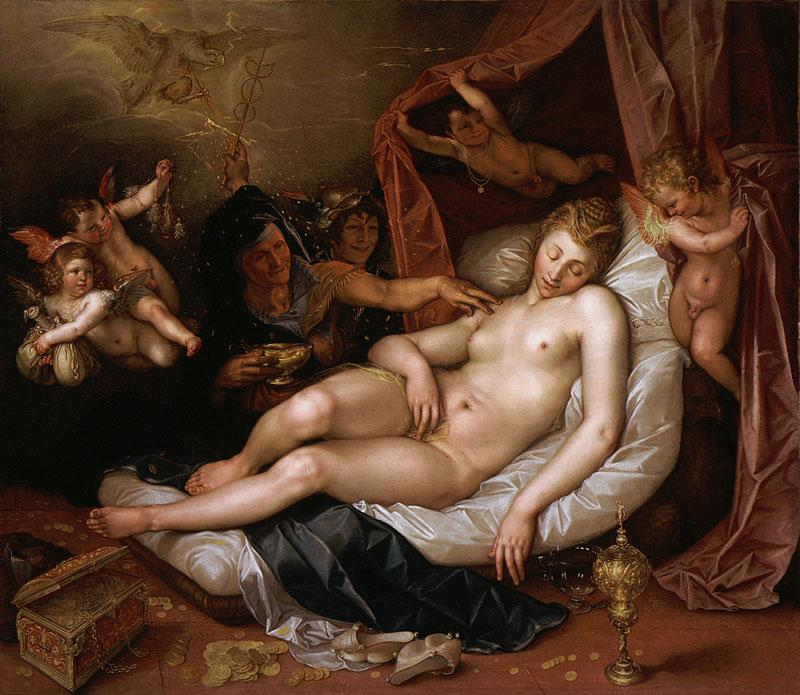 Hendrik Goltzius - The Sleeping Danae Being Prepared to Receive Jupiter