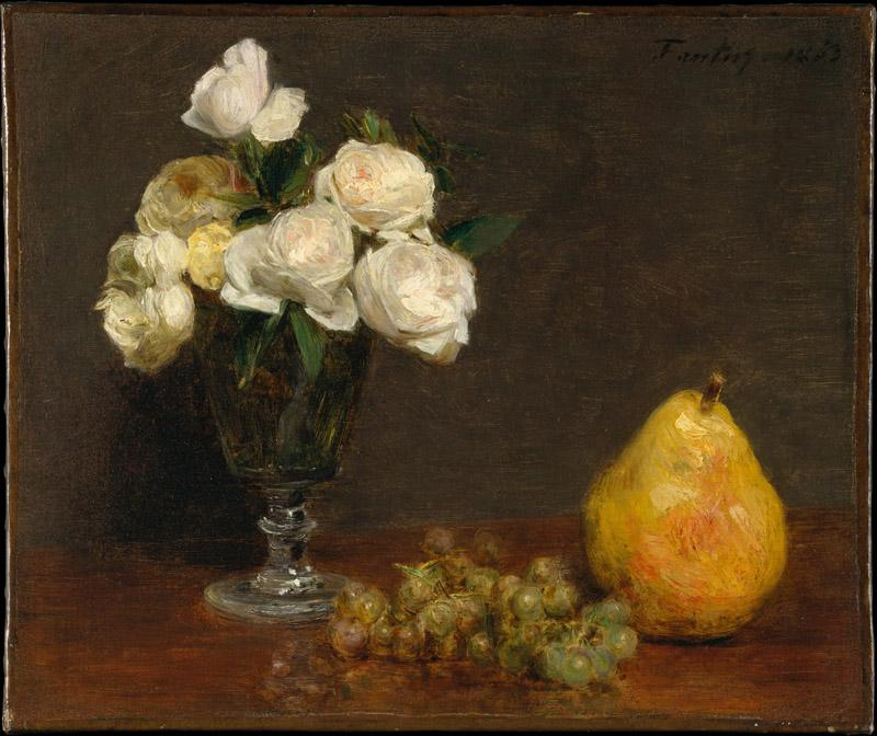 Henri Fantin-Latour--Still Life with Roses and Fruit