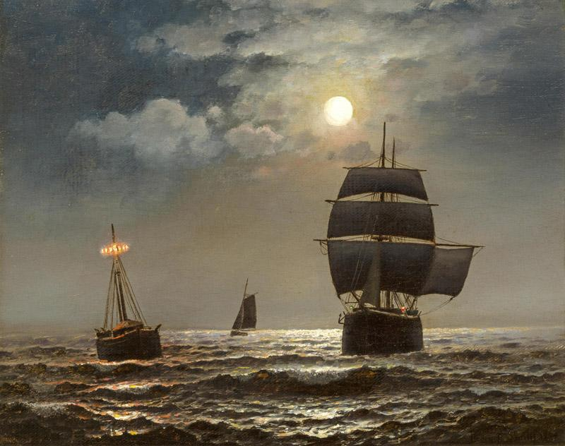 Henry Pember Smith-Passing the lightship by moonlight