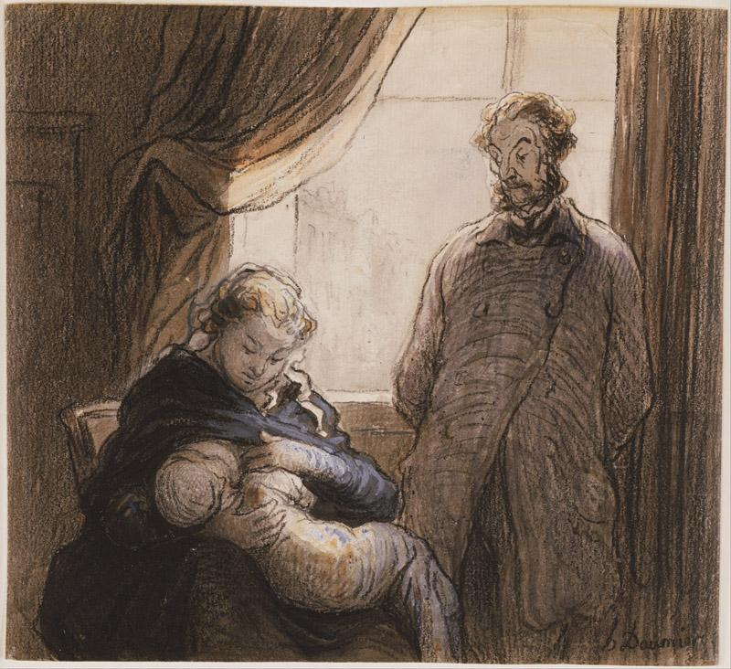 Honore Daumier (1808-1879)-The Family