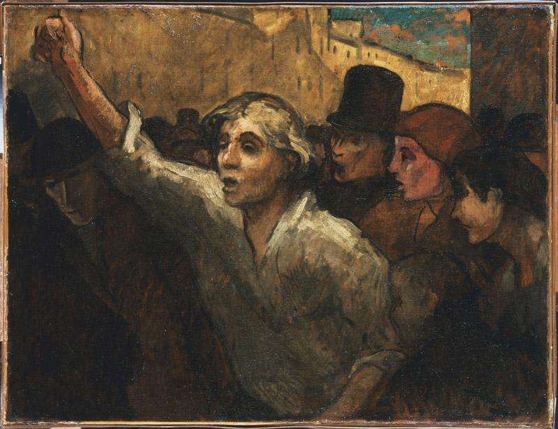 Honore Daumier (1808-1879)-The Uprising