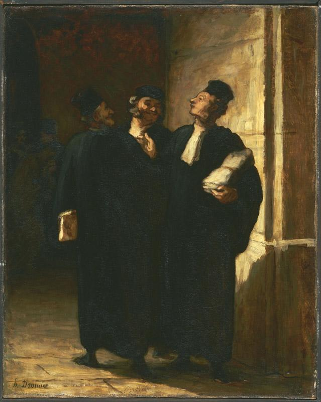 Honore Daumier (1808-1879)-Three Lawyers