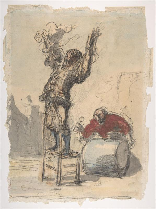 Honore Daumier--Street Show