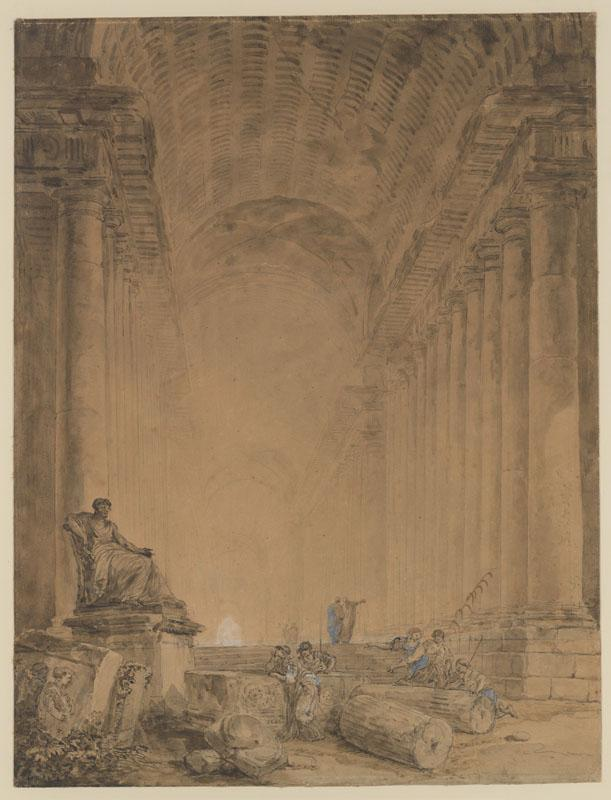 Hubert Robert--Figures in a Colonnade