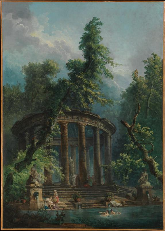 Hubert Robert--The Bathing Pool