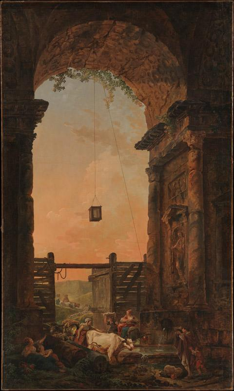 Hubert Robert--The Return of the Cattle