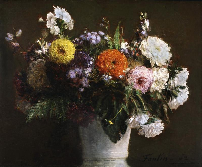Ignace-Henri-Jean-Theodore Fantin-Latour, French, 1836-1904 -- Still Life with Chrysanthemums