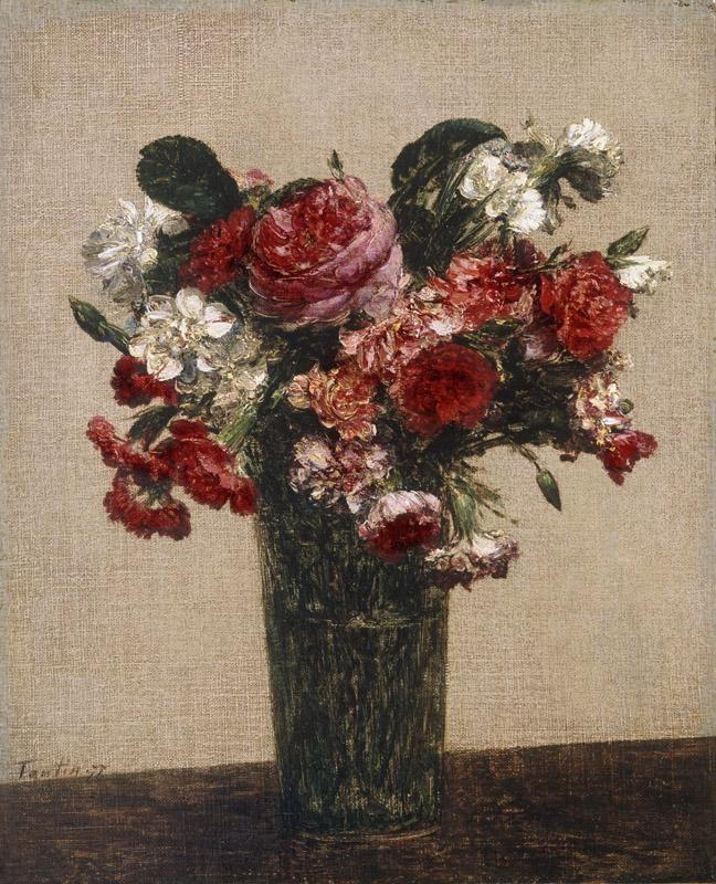 Ignace-Henri-Jean-Theodore Fantin-Latour, French, 1836-1904 -- Still Life with Roses and Asters in a Glass