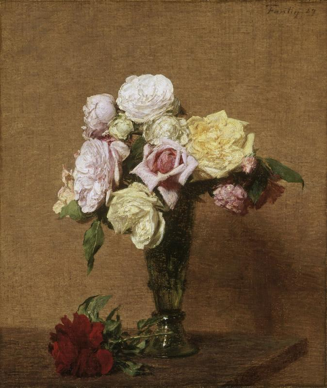 Ignace-Henri-Jean-Theodore Fantin-Latour, French, 1836-1904 -- Still Life with Roses in a Fluted Vase