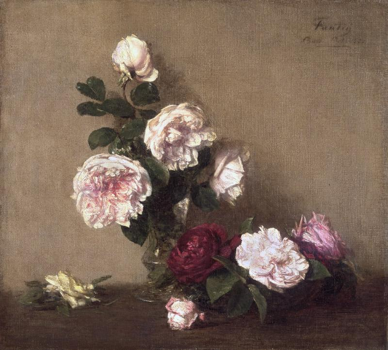Ignace-Henri-Jean-Theodore Fantin-Latour, French, 1836-1904 -- Still Life with Roses of Dijon