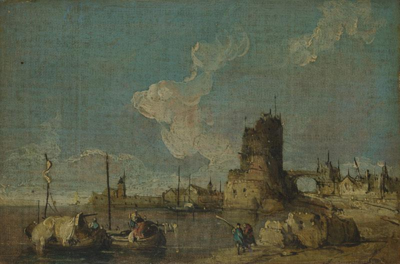 Imitator of Francesco Guardi - A Ruin Caprice II