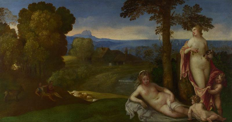 Imitator of Giorgione - Nymphs and Children in a Landscape with Shepherds
