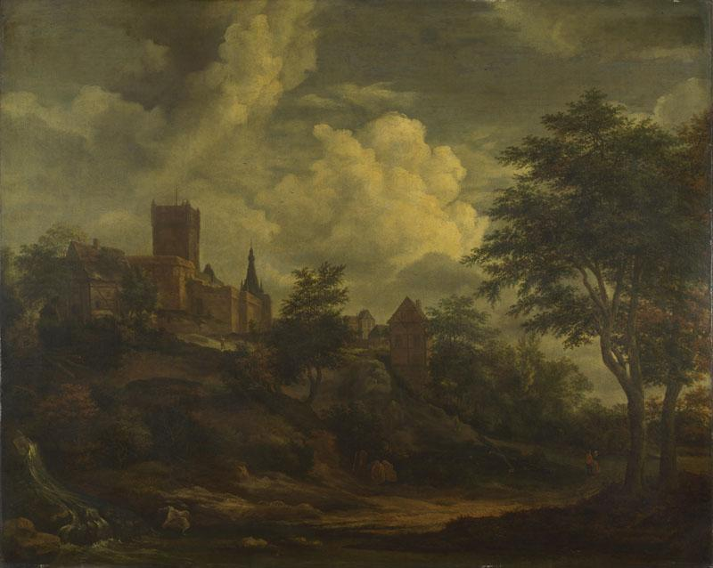 Imitator of Jacob van Ruisdael - A Castle on a Hill by a River