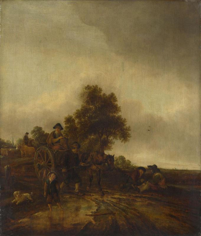 Isack van Ostade - A Landscape with Peasants and a Cart