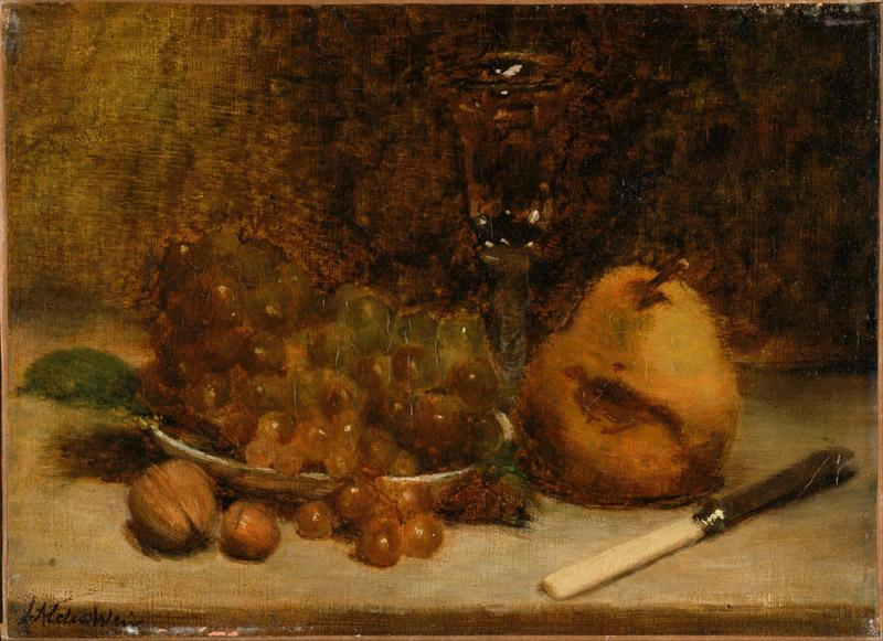 J. Alden Weir (1852-1919)-Grapes, Knife and Glass