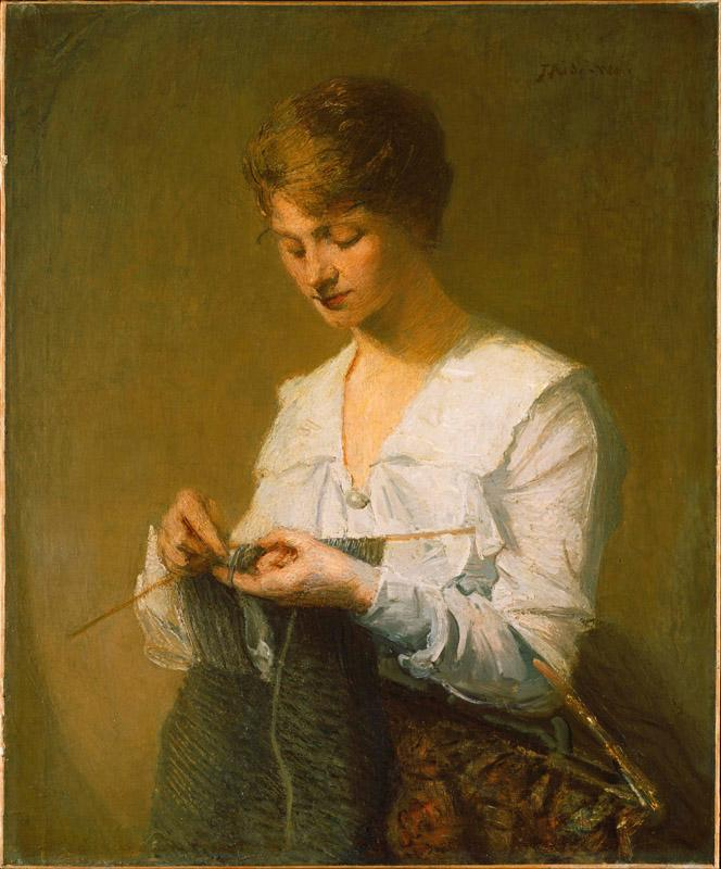 J. Alden Weir (1852-1919)-Knitting for Soldiers