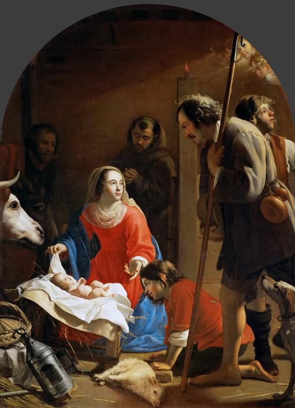 Jacob I van Oost -- Adoration of the Shepherds with Saint Francis of Assisi